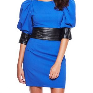 Gracia Puff Sleeve Mixed Media Dress-Front