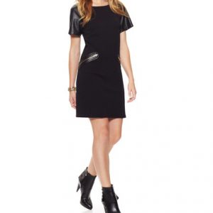 Julia Jordan Faux Leather Dress-Front