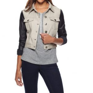 Kensie Jacket-Faux Leather Sleeves