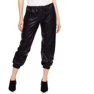 Olivaceous Faux Leather Jogger-Front
