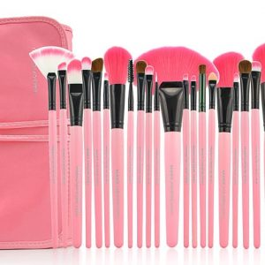 Pink 24 Piece Make-Up Brush Set With Pouch