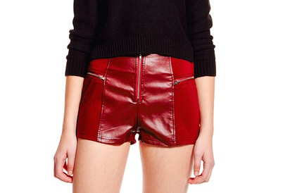 TCEC Faux Leather Short-Burgundy-Front
