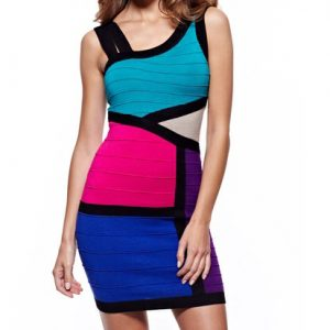 Wow Couture Colorblock Dress-Front