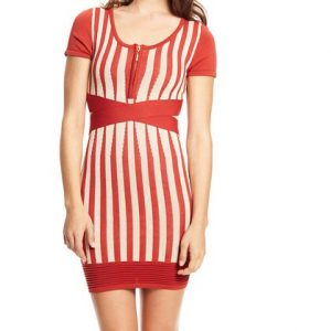 Wow Couture Stripe Bandage Dress-Front